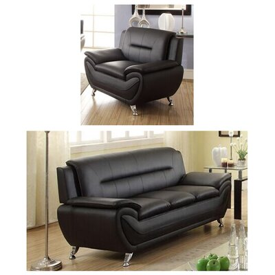 Juliano Modern 2 Piece Living Room Set Upholstery: Black