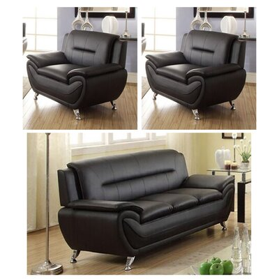 Juliano Modern 3 Piece Living Room Set Upholstery: Black
