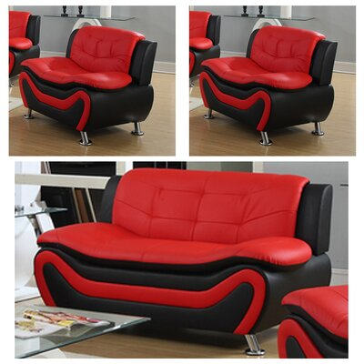 Jung Modern 3 Piece Living Room Set Upholstery: Black/Red