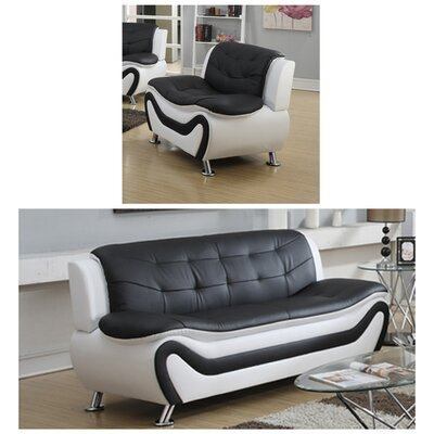 Jung Modern 2 Piece Living Room Set Upholstery: Black/White