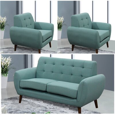 Yearwood Modern 3 Piece Living Room Set Upholstery: Teal