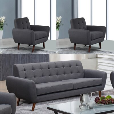 Yearwood Modern 3 Piece Living Room Set Upholstery: Dark Gray