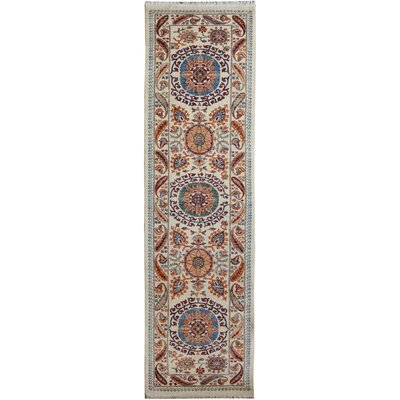 One-of-a-Kind Huseby Hand-Knotted Wool Ivory/Blue Area Rug Rug Size: Runner 3 x 10