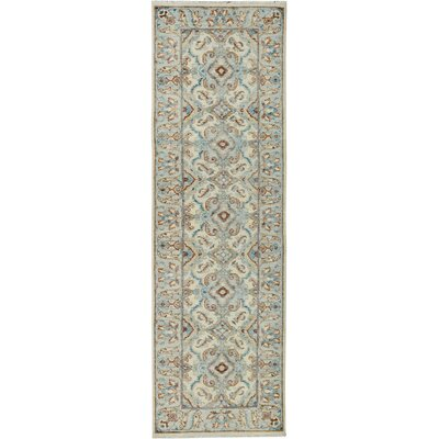 One-of-a-Kind Huseby Hand-Knotted Wool Ivory/Blue Area Rug