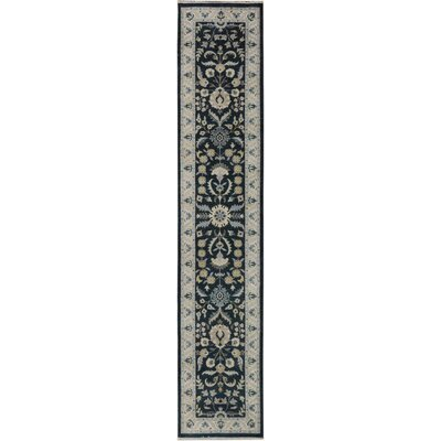 One-of-a-Kind Huseby Hand Woven Wool Black/Ivory Area Rug