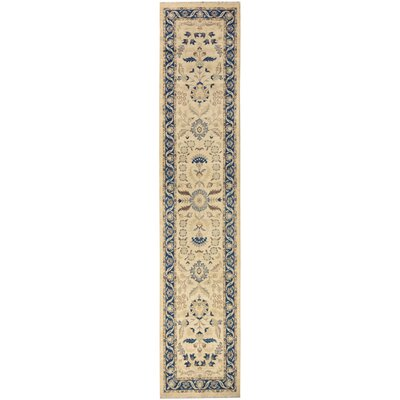 One-of-a-Kind Huseby Hand-Knotted Wool Beige/Blue Area Rug