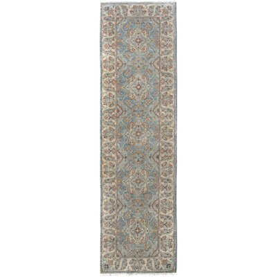 One-of-a-Kind Huseby Hand-Knotted Wool Blue/Ivory Area Rug