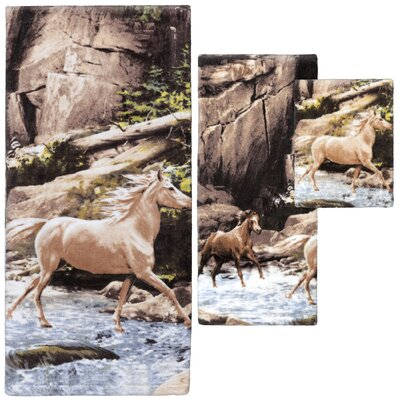 Pennock Horse Print 3 Piece Towel Set