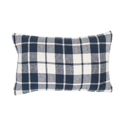 Vensey Plaid Cotton Lumbar Pillow Color: Navy