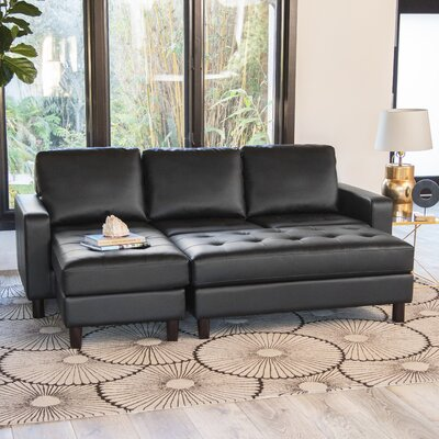 Leitner Modular Sectional with Ottoman Upholstery: Black
