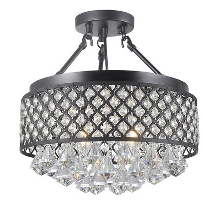 Carbon 4-Light Crystal Chandelier