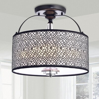 Carbon 3-Light Semi Flush Mount