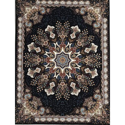 Polett Persian Wool Black Area Rug Rug Size: Rectangle 65 x 10