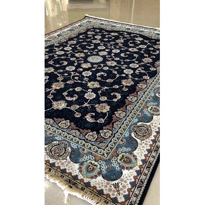 Polizzi Persian Wool Black Area Rug Rug Size: Rectangle 10 x 14