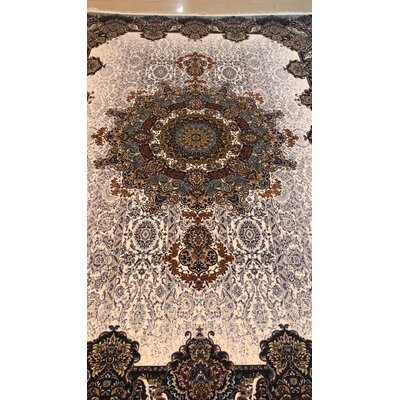 Pollman Persian Wool Cream Area Rug Rug Size: Rectangle 5' x 8'2