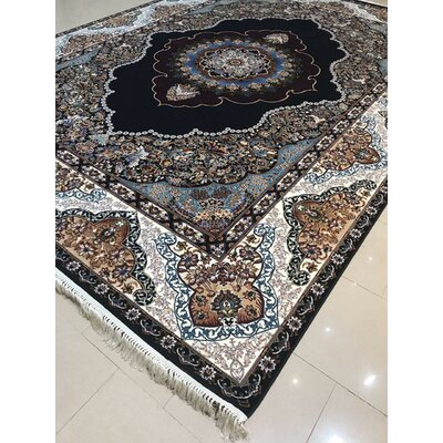 Polster Persian Wool Black Area Rug Rug Size: Rectangle 5 x 82