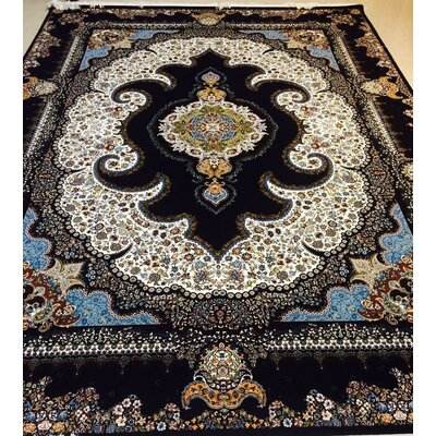 Polzin Persian Wool Black Area Rug Rug Size: Rectangle 82 x 115