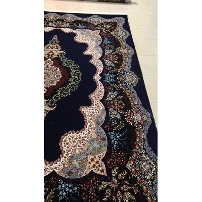 Pomonok Persian Wool Black Area Rug Rug Size: Rectangle 65 x 10