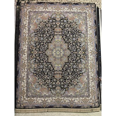 Pompa Persian Wool Black Area Rug Rug Size: Rectangle 82 x 115