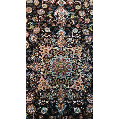 Poplin Persian Wool Black Area Rug Rug Size: Rectangle 82 x 115