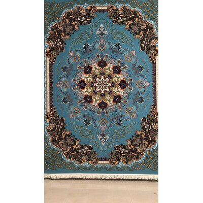 Porcaro Persian Wool Blue Area Rug Rug Size: Rectangle 6'5