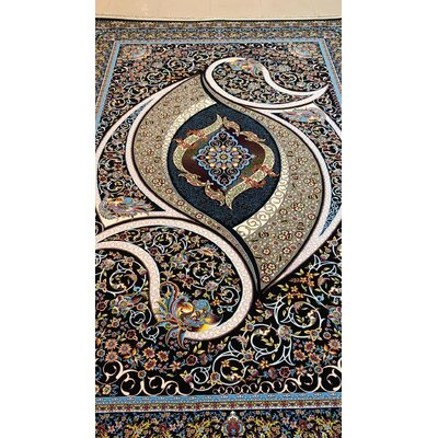 Portsmouth Persian Wool Black Area Rug Rug Size: Rectangle 5 x 82