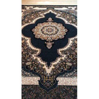 Potts Persian Wool Black Area Rug Rug Size: Rectangle 5 x 82