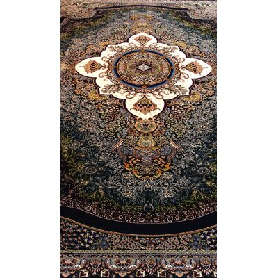 Potvin Persian Wool Black Area Rug Rug Size: Rectangle 5 x 82
