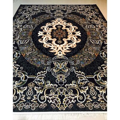 Pouliot Persian Wool Black Area Rug Rug Size: Rectangle 65 x 10