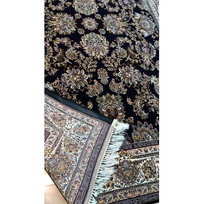 Poulos Persian Wool Black Area Rug Rug Size: Rectangle 65 x 10