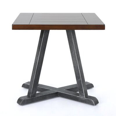 Waring Wood End Table Color: Rustic Wood/Antique Black