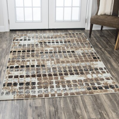 Minyard Beige/Black Area Rug Rug Size: Rectangle 52 x 73