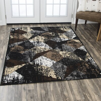 Minyard Black/Gray Area Rug Rug Size: Rectangle 52 x 73