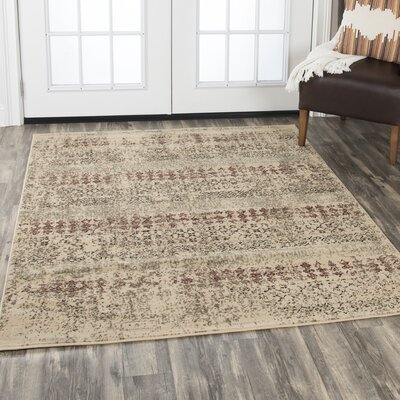 Arrighetto Beige/Red Area Rug Rug Size: Rectangle 52 x 73