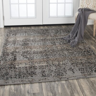 Arrighetto Gray/Black Area Rug Rug Size: Rectangle 8 x 10
