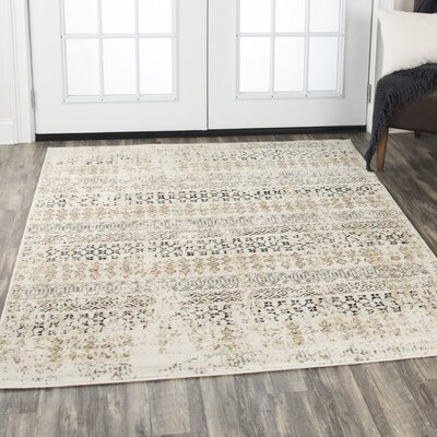 Arrighetto Beige/Black Area Rug Rug Size: Rectangle 8 x 10