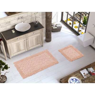 2 Piece Luxury Soft Cotton Patterned Stone Bath Rug Set Color: Pink