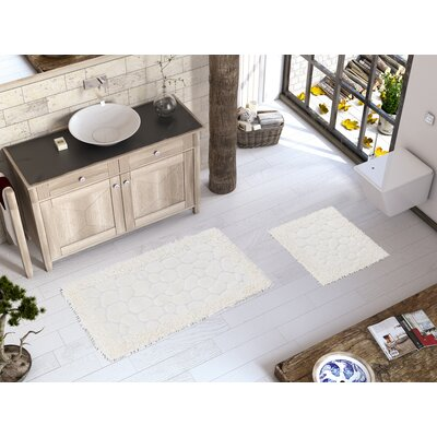 2 Piece Luxury Soft Cotton Patterned Stone Bath Rug Set Color: Cream