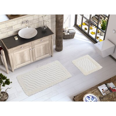 Edinburgh Luxury Soft Cotton Patterned Wave 2 Piece Bath Rug Set Color: Cream