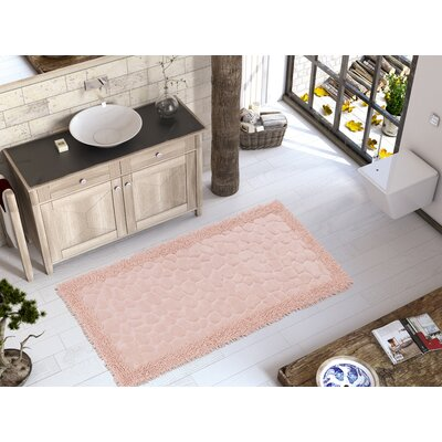 Edgware Luxury Soft Cotton Patterned Stone Bath Rug Color: Pink