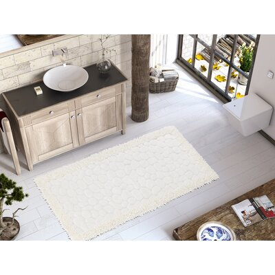 Edgware Luxury Soft Cotton Patterned Stone Bath Rug Color: Cream