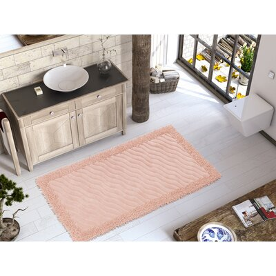 Eden Luxury Soft Cotton Patterned Wave Bath Rug Color: Pink