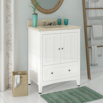 Artic Modern 31 Single Bathroom Vanity Set Base Finish: White, Sink Finish: Biscuit, Faucet Mount: 4 Centers