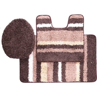 Chumley 3 Piece Bath Rug Set Color: Chocolate