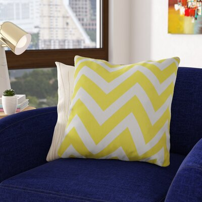 Shreffler Chevron Stripe 100% Cotton Throw Pillow Color: Yellow