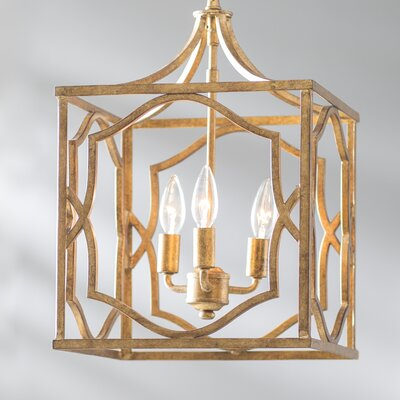 Destrey Traditional 3-Light LED Metal Foyer Pendant Finish: Antique Gold