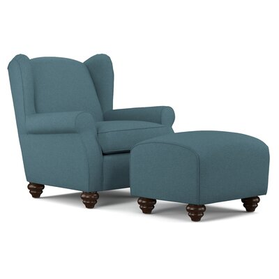 Roselle Wingback Chair and Ottoman Upholstery: Blue