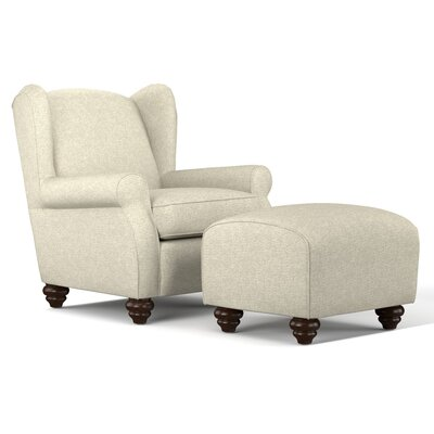 Roselle Wingback Chair and Ottoman Upholstery: Barley Tan