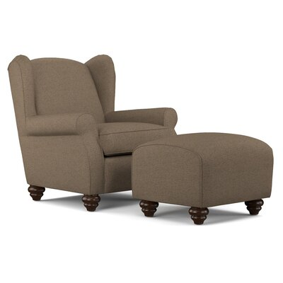 Roselle Wingback Chair and Ottoman Upholstery: Brown