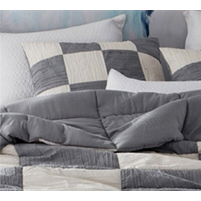 Montauk Textured Sham Size: King, Color: Gray/Off White